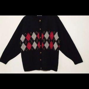 Argyle sweater cardigan